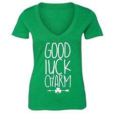 St Patrick Day shirt Shamrock Clover Irish Women V-neck T-Shirt Tee Green 1