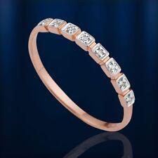 Russisches Rose Gold 585/14kt dünner RING mit DIAMANTEN 2mm breit  BICOLOR GOLD