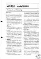 Wega Original Service Manual für studio 3211 hifi