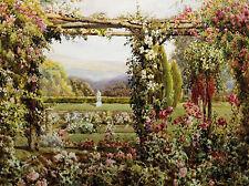 ROBERT Atkinson: El Rosa Garden bastidor de cuña - Imagen Lienzo Clásico Jardín