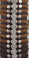 Irish Wax Cord Adjustable Bracelet with Celtic Knot Metal Discs