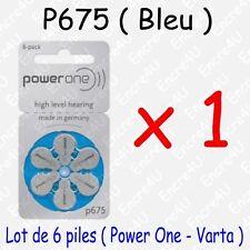 Lot de 6 piles auditives : BLEU P675 ( = 1 blister )