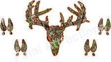 Camo Orange Zombie Deer Skull w/Tracks Vinyl Decal sticker prints buck hunting