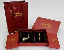 MAYA Gold Plated Name Necklace and Bracelet Gift Set 18K Bridal Christmas