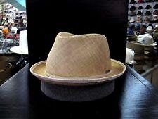 BORSALINO STRAW NATURAL TEARDROP FEDORA DRESS HAT (READ DESCRIPTION SIZE)