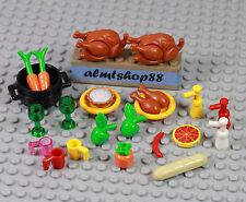 LEGO - 22 pcs Lot Thanksgiving Plate Turkey Pie Apple Pumpkin Minifigure Food