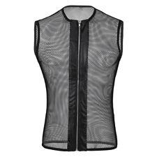 Mens String Mesh Vest Fishnet Zipper Gym Breathable Tank Top T shirt Club wear
