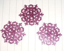 Glitter Christmas Snowflake charms Pendants x 3 Kitsch Kawaii Xmas