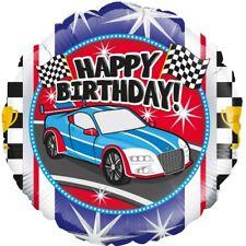 "Sports Car Happy Birthday | Race Flag 18"" Helium Foil Party Balloon | Celebrate"