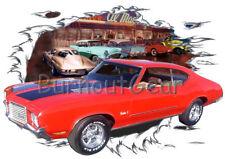 1972 Red Oldsmobile Cutlass b Custom Hot Rod Diner T-Shirt 72 Muscle Car Tees