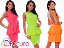 Elegant Women's Peplum Dress Sleeveless Boat Neck Tunic Size 8-12 8334