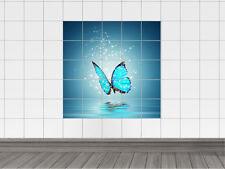Fliesenaufkleber Fliesen für Bad Küche Fliesendesign Blauer Schmetterling Sterne