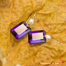 Pure 18k 14k Gold Pearl Lollipop Earwire Emerald Cut Purple Amethyst Earrings