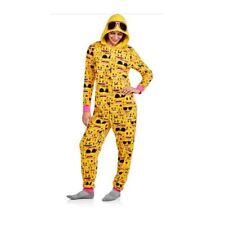 NEW Womens Emoji Fleece Hooded One-Piece Pajamas Sleepwear Adult Onesie M L XL