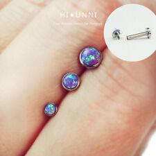 16g opal cartilage stud earring Internally threaded labret lip monroe tragus 1pc