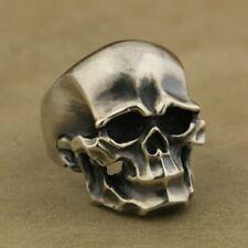 Heavy 925 Sterling Silver Skull Mens Biker Rock Punk Ring TA43C UK #N½~#Z4