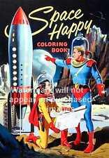 Espace heureux: couverture du magazine vintage poster publicitaire, art de mur.