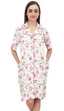 Bimba Pink Women Floral Print Sleepshirt Short Sleeve Nightwear With Pockets