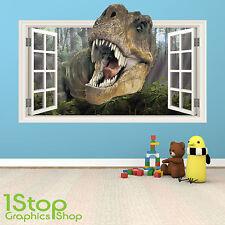 Dinosaure autocollant mural couleur pleine-garçons filles enfants chambre à coucher fenêtre W60