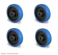 Satz BLUE WHEELS Vollgummi Rad 80 100 125 160 200 mm KUGELLAGER INKL MONTAGESET