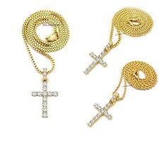 Chain Necklace Hip Hop Gold Micro Cross Pendant Box,Rope,Cuban