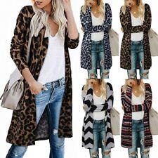Women's Open Front Leopard Cardigan Pockets Long Sleeve Lightweight Coat CA