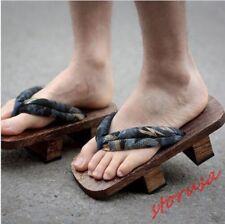 Zuecos Geta Japonés Para Hombres Sandalias Ojotas de tela de madera bidentado Informal Zapatos