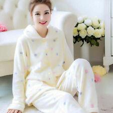 Damen Nachtwäsche Flanell Pyjama Thermo Schlafanzug Hausanzug Set Langarm