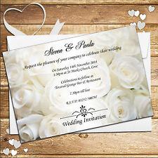 Personalizado White Rose día de bodas / Boda Noche Invitaciones N50