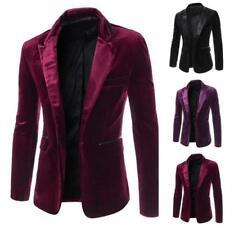 Mens Slim Fit Lapel Velvet Blazer Wedding Tuxedo Party Formal Jacket Fashion Hot