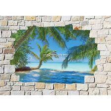 Stickers mural mur de pierre Palmiers Tropique 8534 8534