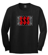 Kings Of NY Money Bandana Long Sleeve T-Shirt Gang Hood