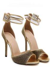 sandalias 11 cm elegantes tacón de aguja fashion oro como piel cómodo 9247