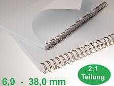 RENZ Drahtbinderücken 2 : 1 Teilung DIN A4 /  6.9 - 38.0 mm - Farben zur Auswahl