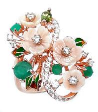 925 Sterling Silber Ring Roségold beschichtet, Smaragd & Perlmutter Blumen, Neu