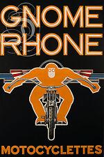 PLAQUE ALU REPRODUISANT UNE AFFICHE MOTO MOTOCYCLETTE GNOME RHONE