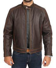 Mens Brown Leather Biker Jacket Regular Fit Waxed Cowhide Zip Fasten Casual Coat