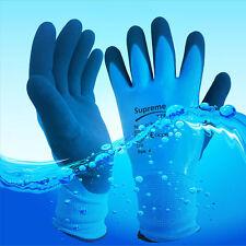 10 Pairs Blue Aqua Waterproof Fully Latex Coated Nylon Safety Work Gloves M L XL