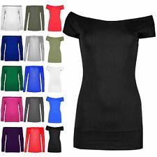 Donna Casual Jersey Plain Top Manica ad Aletta Basic Elasticizzato Jersey T Shirt