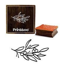 branche d'olivier carte journal avec des feuilles brun timbre en caoutchouc bois