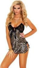 Sexy Leopard Print Lace Gown Satin Camisole Dress Chemise Lingerie Adult Women