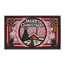 Tappeto Zerbino Gomma Ingresso Natale Merry Christmas Brillantinato Rosso Glitte