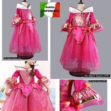 Aurora Vestito Bambina Carnevale Maschera Principessa Girl Costume Dress AUR005