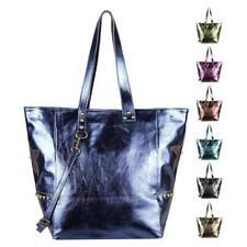 Italian Women's Real Leather Bag Tote Metallic Shopper Shoulder Ledertasch