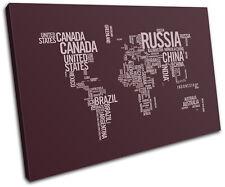 World Atlas Dark Plum Type Maps Flags Single Canvas Wall Art Picture Print