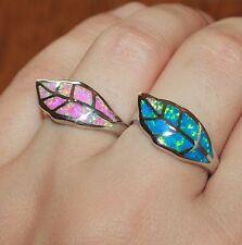 fire opal ring gemstone silver jewelry Sz 7.5 modern Leaf cocktail wedding band