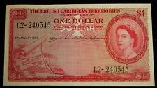 1955 British Caribbean Territories Eastern Group England 1 Dollar Note EF