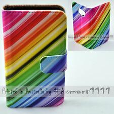 For OPPO R7 R9s - Rainbow Colour Streak Theme Print Flip Wallet Phone Case Cover