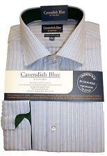 "FREE POST Cotton Med Blue/ White City Stripe Shirt  Green Trim 14.5""-18"" BNWT"