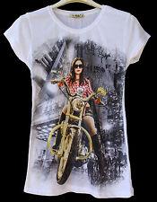 t-shirt maglietta donna ragazza cotone estate stampa ragazza e moto tg. M-L-XL